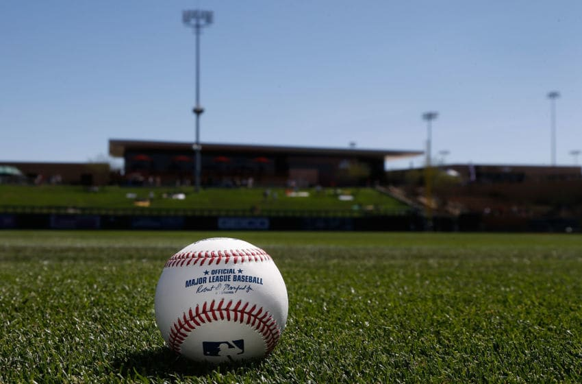 SCOTTSDALE, AZ - MARCH 04: Detail of a MLB baseball on the field before the spring training game between the Oakland Athletics and the Arizona Diamondbacks at Salt River Fields at Talking Stick on March 4, 2016 in Scottsdale, Arizona. (Photo by Christian Petersen/Getty Images)