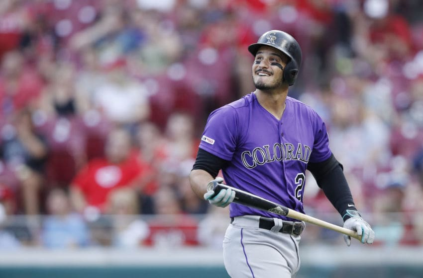 CINCINNATI, OH - JULY 26: Nolan Arenado #28 of the Colorado Rockies reacts after striking out in the third inning against the Cincinnati Reds at Great American Ball Park on July 26, 2019 in Cincinnati, Ohio. (Photo by Joe Robbins/Getty Images)