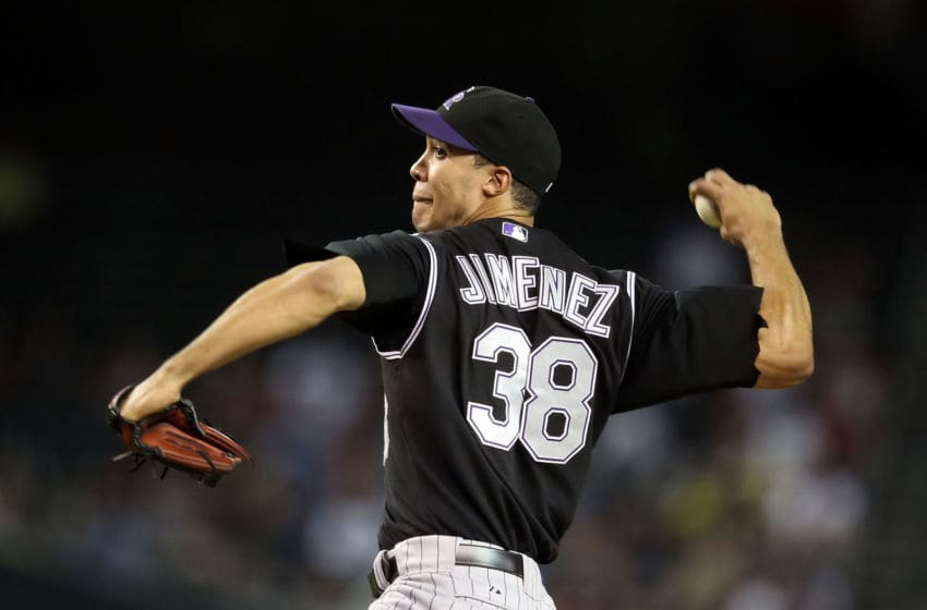 PHOENIX - SEPTEMBER 22: Starting pitcher Ubaldo Jimenez #38 of the Colorado Rockies pitches against the Arizona Diamondbacks during the Major League Baseball game at Chase Field on September 22, 2010 in Phoenix, Arizona. (Photo by Christian Petersen/Getty Images)