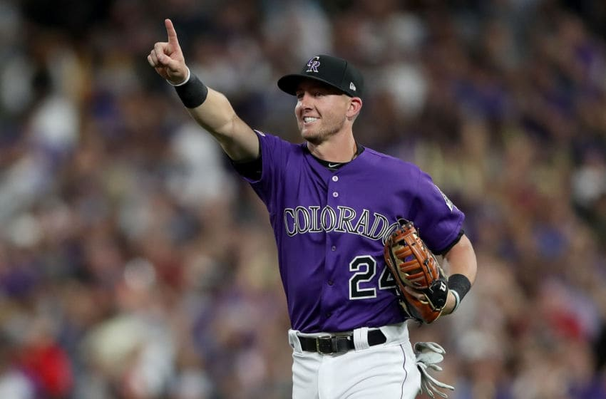 DENVER, COLORADO - JUNE 29: Ryan McMahon #24 of the Colorado Rockies celebrates the final out against the Los Angeles Dodgers at Coors Field on June 29, 2019 in Denver, Colorado. (Photo by Matthew Stockman/Getty Images)