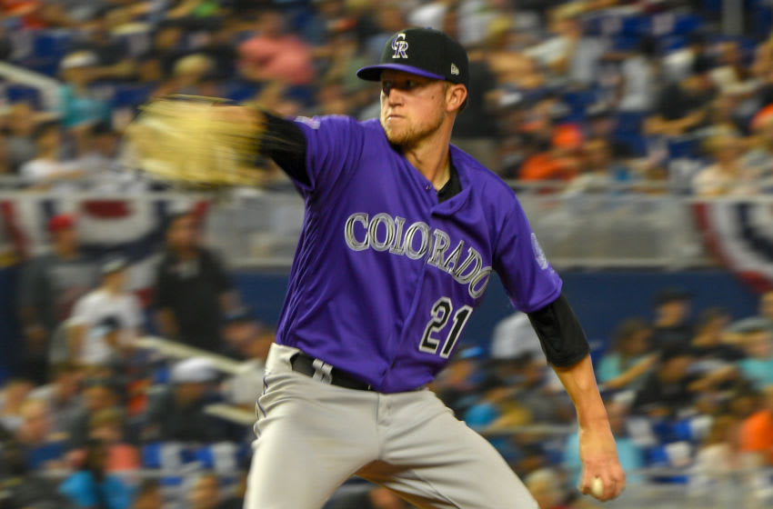 MIAMI, FL - MARCH 28: Kyle Freeland #21 of the Colorado Rockies pitching in the third inning against the Miami Marlins on Opening Day at Marlins Park on March 28, 2019 in Miami, Florida. (Photo by Mark Brown/Getty Images)