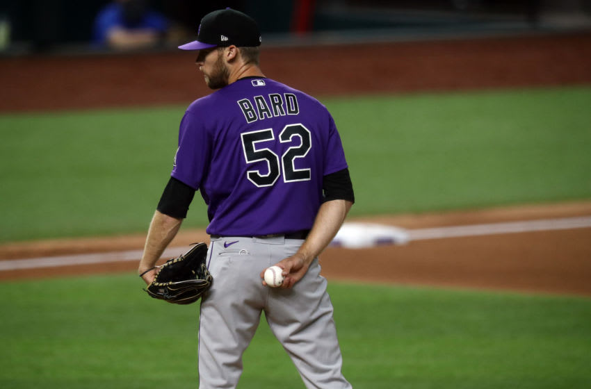 ARLINGTON, TEXAS - JULY 21: Daniel Bard #52 of the Colorado Rockies during a MLB exhibition game at Globe Life Field on July 21, 2020 in Arlington, Texas. (Photo by Ronald Martinez/Getty Images)