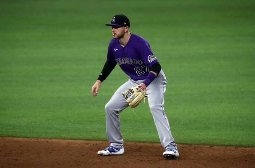 ARLINGTON, TEXAS - JULY 21: Trevor Story #27 of the Colorado Rockies during a MLB exhibition game at Globe Life Field on July 21, 2020 in Arlington, Texas. (Photo by Ronald Martinez/Getty Images)