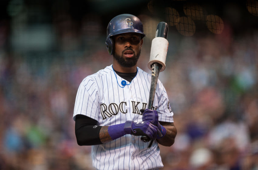 DENVER, CO - SEPTEMBER 5: Jose Reyes #7 of the Colorado Rockies stands in the on deck circle in the first inning of a game against the San Francisco Giants at Coors Field on September 5, 2015 in Denver, Colorado. (Photo by Dustin Bradford/Getty Images)