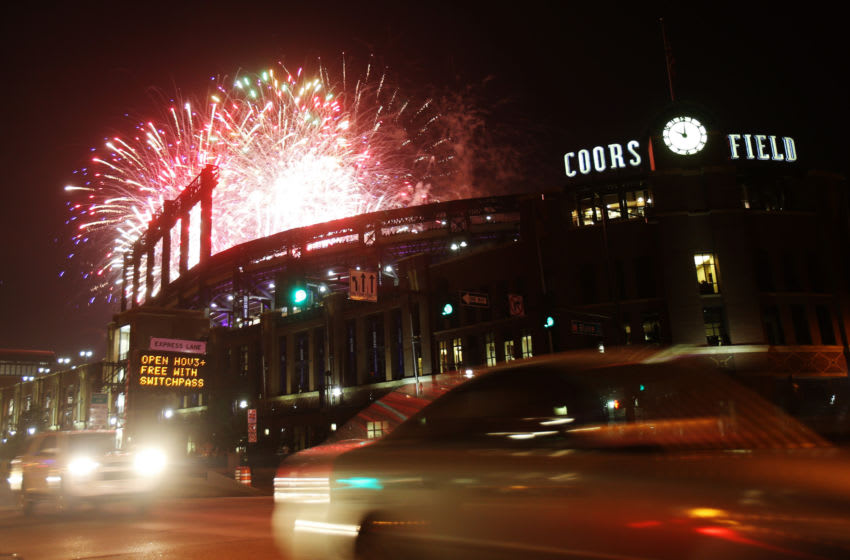 Jul 4, 2017; Denver, CO, USA; A general view during a fireworks show after the game between the Colorado Rockies and the Cincinnati Reds at Coors Field. Mandatory Credit: Chris Humphreys-USA TODAY Sports