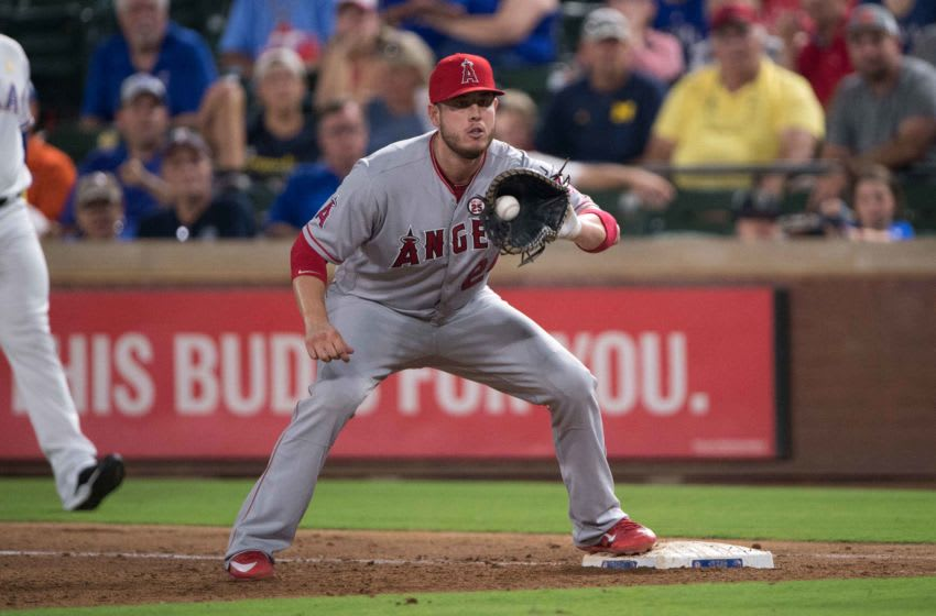 Sep 1, 2017; Arlington, TX, USA; Los Angeles Angels first baseman C.J. Cron (24) in action during the game against the Texas Rangers at Globe Life Park in Arlington. The Rangers defeat the Angels 10-9. Mandatory Credit: Jerome Miron-USA TODAY Sports