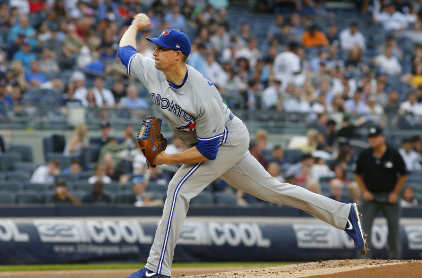 Jun 24, 2019; Bronx, NY, USA; Toronto Blue Jays starting pitcher Aaron Sanchez (41) pitches against the New York Yankees during the first inning at Yankee Stadium. Mandatory Credit: Andy Marlin-USA TODAY Sports