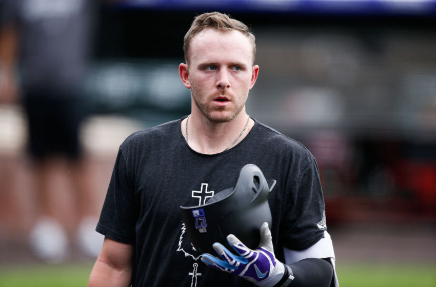 Jul 5, 2020; Denver, Colorado, United States; Colorado Rockies shortstop Trevor Story (27) during workouts at Coors Field. Mandatory Credit: Isaiah J. Downing-USA TODAY Sports