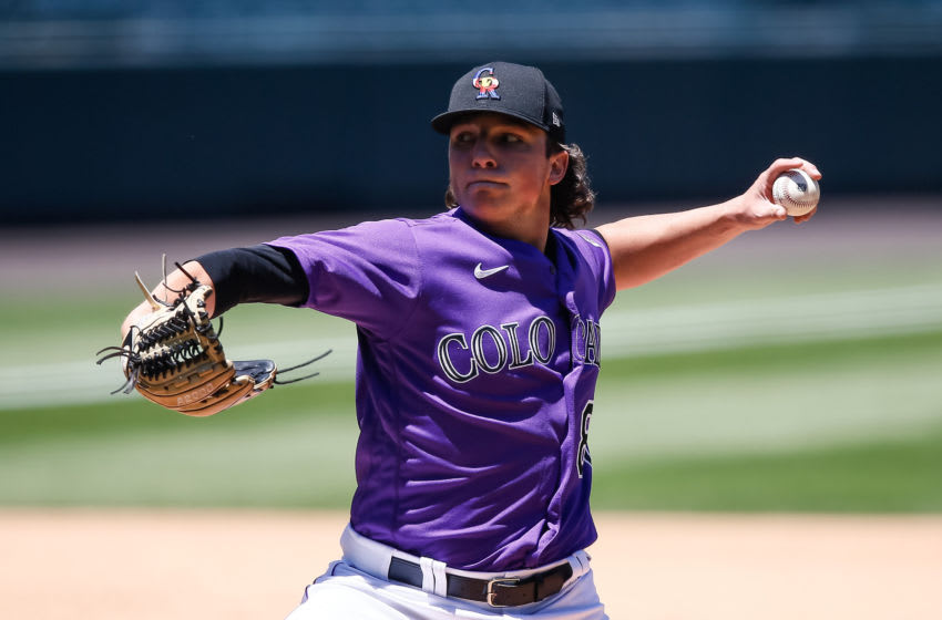 Jul 8, 2020; Denver, Colorado, United States; Colorado Rockies pitcher Ryan Rolison (80) pitches during workouts at Coors Field. Mandatory Credit: Isaiah J. Downing-USA TODAY Sports
