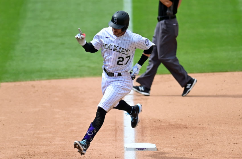 Aug 6, 2020; Denver, Colorado, USA; Colorado Rockies shortstop Trevor Story (27) runs off his solo home run in the sixth inning against the San Francisco Giants at Coors Field. Mandatory Credit: Ron Chenoy-USA TODAY Sports