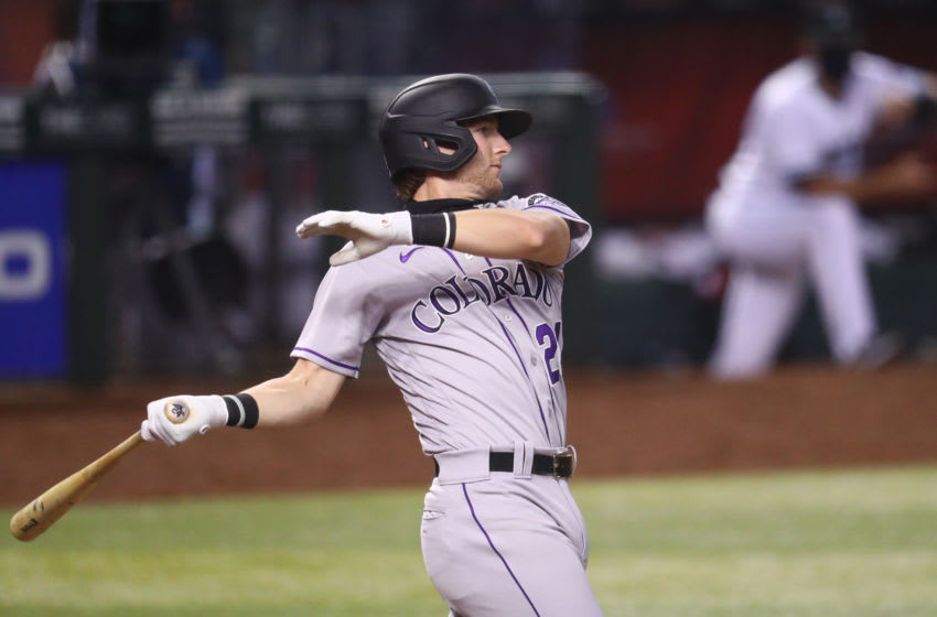 Aug 25, 2020; Phoenix, Arizona, USA; Colorado Rockies second baseman Ryan McMahon against the Arizona Diamondbacks at Chase Field. Mandatory Credit: Mark J. Rebilas-USA TODAY Sports