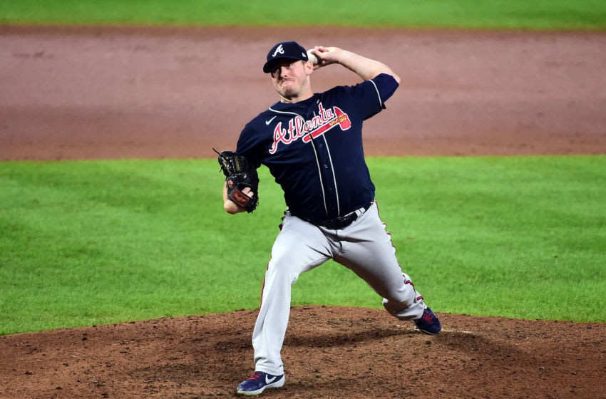 Sep 16, 2020; Baltimore, Maryland, USA; Atlanta Braves pitcher Tyler Matzek (68) throws a pitch in the eighth inning against the Baltimore Orioles at Oriole Park at Camden Yards. Mandatory Credit: Evan Habeeb-USA TODAY Sports