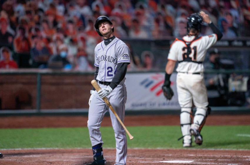 Sep 22, 2020; San Francisco, California, USA; Colorado Rockies third baseman Ryan McMahon (24) reacts after being called out on strikes during the sixth inning against the San Francisco Giants at Oracle Park. Mandatory Credit: Neville E. Guard-USA TODAY Sports