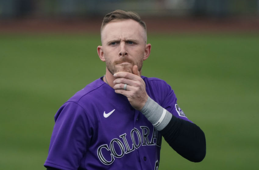 Mar 12, 2021; Scottsdale, Arizona, USA; Colorado Rockies shortstop Trevor Story (27) reacts to fans during a spring training game against the San Francisco Giants at Scottsdale Stadium. Mandatory Credit: Rick Scuteri-USA TODAY Sports
