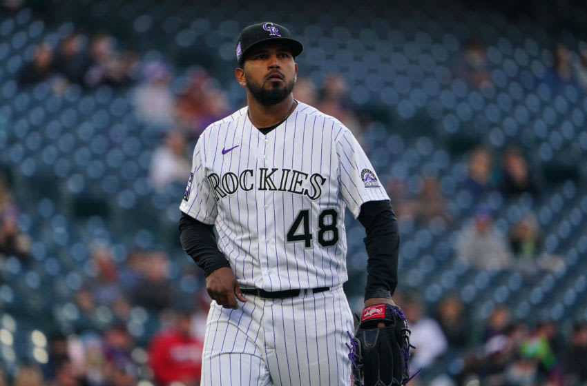 Apr 23, 2021; Denver, Colorado, USA; Colorado Rockies starting pitcher German Marquez (48) walks off the mound in the first inning against the Philadelphia Phillies at Coors Field. Mandatory Credit: Ron Chenoy-USA TODAY Sports