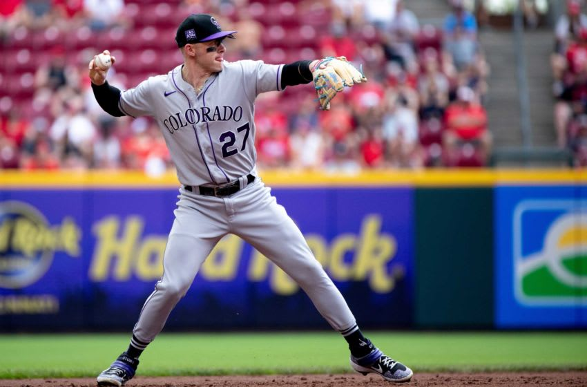 Colorado Rockies shortstop Trevor Story (27) throws to first for an out in the second inning of the MLB game between Cincinnati Reds and Colorado Rockies at Great American Ball Park on Sunday, June 13, 2021, in downtown Cincinnati. Cincinnati Reds Colorado Rockies