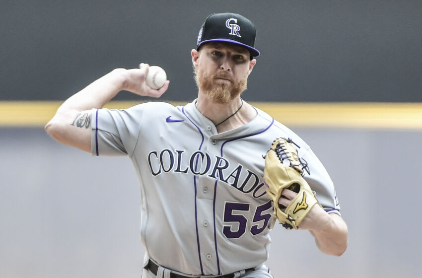 Jun 25, 2021; Milwaukee, Wisconsin, USA; Colorado Rockies pitcher Jon Gray (55) pitches in the first inning against the Milwaukee Brewers at American Family Field. Mandatory Credit: Benny Sieu-USA TODAY Sports