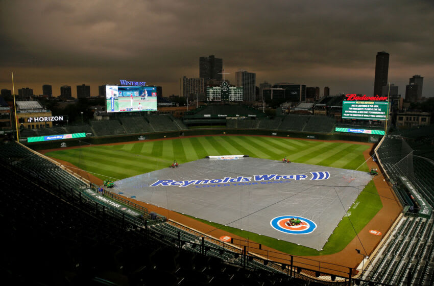 Aug 9, 2021; Chicago, Illinois, USA; A general view of Wrigley Field as storm clouds move through the area during a rain delay before the game between the Chicago Cubs and the Milwaukee Brewers at Wrigley Field. Mandatory Credit: Jon Durr-USA TODAY Sports