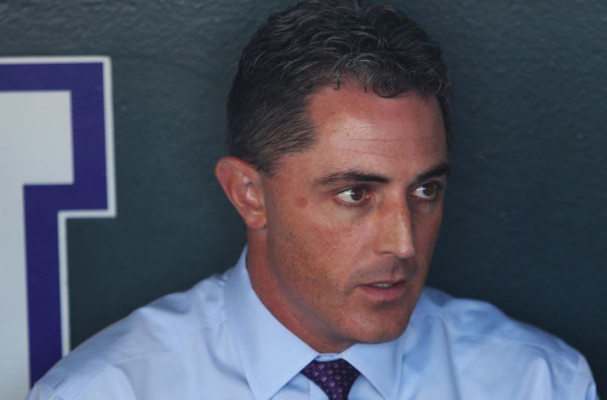 Apr 7, 2017; Denver, CO, USA; Colorado Rockies general manager Jeff Bridich speaks to reporters before the game against the Los Angeles Dodgers at Coors Field. Mandatory Credit: Chris Humphreys-USA TODAY Sports