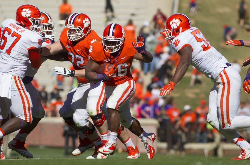 Apr 9, 2016; Clemson, SC, USA; Clemson Tigers running back Adam Choice (26) carries the ball during the second half of the spring game at Clemson Memorial Stadium. Mandatory Credit: Joshua S. Kelly-USA TODAY Sports