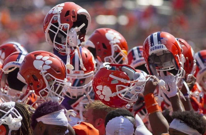 Sep 10, 2016; Clemson, SC, USA; Clemson Tigers players prior to the game against the Troy Trojans at Clemson Memorial Stadium. Mandatory Credit: Joshua S. Kelly-USA TODAY Sports