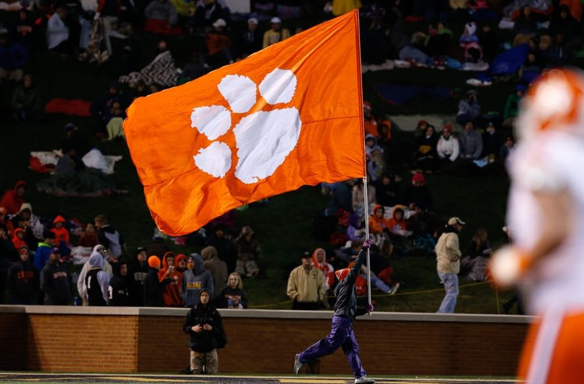 Nov 19, 2016; Winston-Salem, NC, USA; A Clemson Tigers flag is run across the end zone after a score in the second quarter against the Wake Forest Demon Deacons at BB&T Field. Mandatory Credit: Jeremy Brevard-USA TODAY Sports