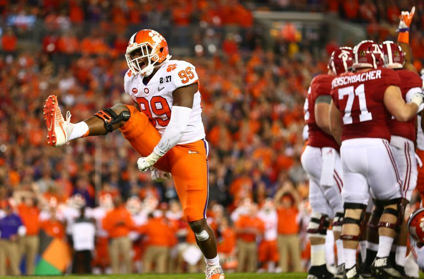 Jan 9, 2017; Tampa, FL, USA; Clemson Tigers defensive end Clelin Ferrell (99) reacts after a play during the first quarter against the Alabama Crimson Tide in the 2017 College Football Playoff National Championship Game at Raymond James Stadium. Mandatory Credit: Mark J. Rebilas-USA TODAY Sports