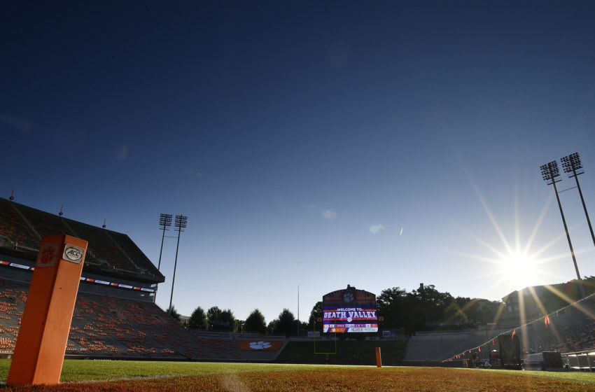 CLEMSON, SC - SEPTEMBER 01: (EDITORS NOTE: A graduated neutral density filter was used for this image.) The sun rises over Death Valley prior to the start of the Clemson Tigers' football game against the Furman Paladins at Clemson Memorial Stadium on September 1, 2018 in Clemson, South Carolina. (Photo by Mike Comer/Getty Images)
