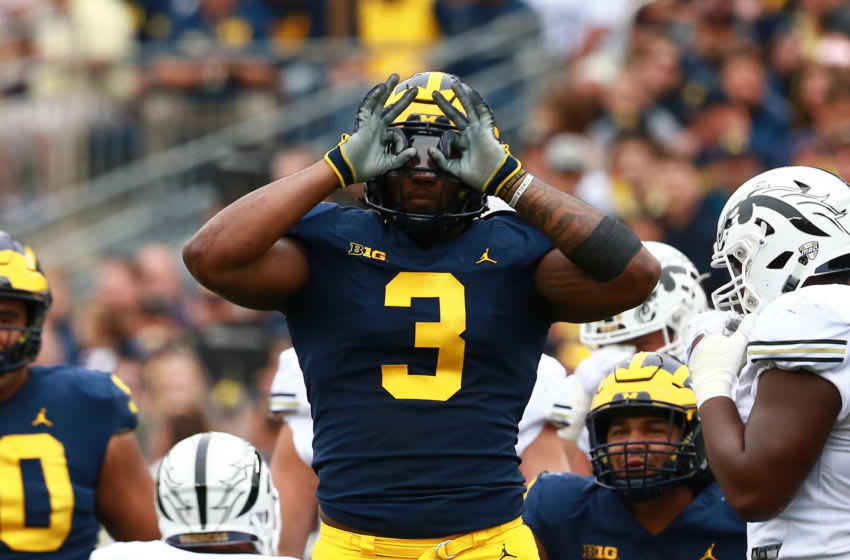 ANN ARBOR, MI - SEPTEMBER 08: Rashan Gary #3 of the Michigan Wolverines reacts to a sack against the Western Michigan Broncos at Michigan Stadium on September 8, 2018 in Ann Arbor, Michigan. (Photo by Rey Del Rio/Getty Images)