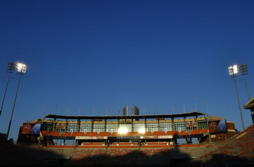 CLEMSON, SC - SEPTEMBER 01: A general view of sunrise reflecting off the stands and oculus at Clemson Memorial Stadium prior to the Clemson Tigers' football game against the Furman Paladins on September 1, 2018 in Clemson, South Carolina. (Photo by Mike Comer/Getty Images)