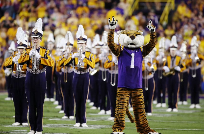 BATON ROUGE, LA - SEPTEMBER 29: Mike the Tiger on the field at the start of the game against the Mississippi Rebels at Tiger Stadium on September 29, 2018 in Baton Rouge, Louisiana. (Photo by Marianna Massey/Getty Images)