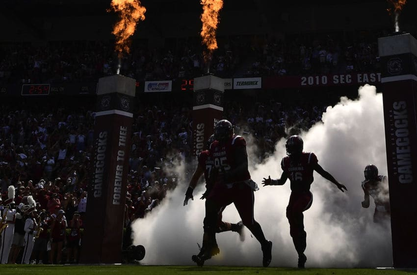 COLUMBIA, SC - OCTOBER 06: The South Carolina Gamecocks take the field for their football game against the Missouri Tigers at Williams-Brice Stadium on October 6, 2018 in Columbia, South Carolina. (Photo by Mike Comer/Getty Images)