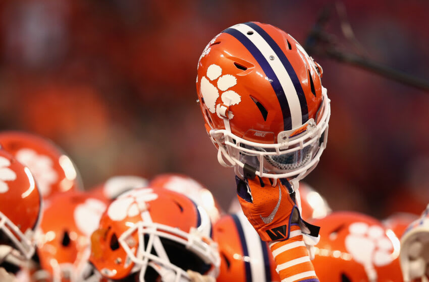 SANTA CLARA, CA - JANUARY 07: A Clemson Tigers helmet is held up prior to the CFP National Championship against the Alabama Crimson Tide presented by AT&T at Levi's Stadium on January 7, 2019 in Santa Clara, California. (Photo by Ezra Shaw/Getty Images)