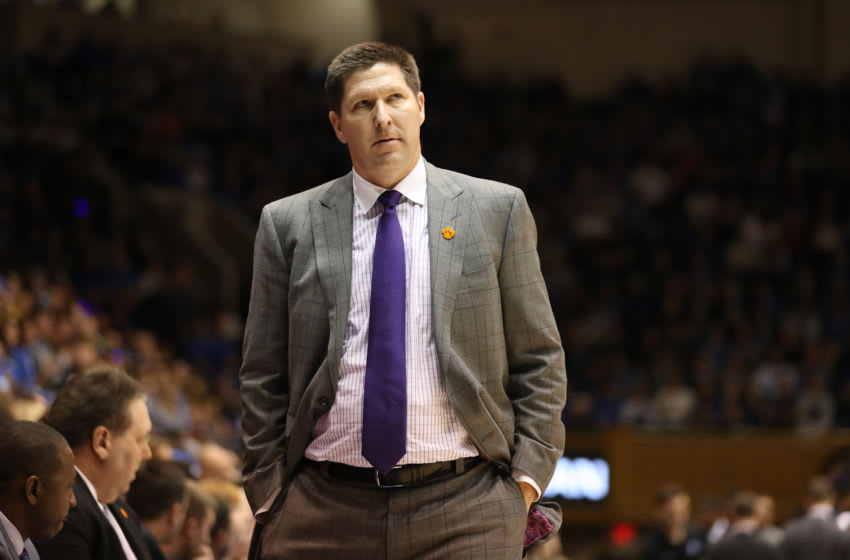 DURHAM, NORTH CAROLINA - JANUARY 05: Head coach Brad Brownell of the Clemson Tigers watches on against the Duke Blue Devils during their game at Cameron Indoor Stadium on January 05, 2019 in Durham, North Carolina. (Photo by Streeter Lecka/Getty Images)