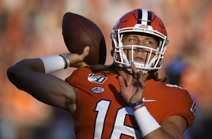 CLEMSON, SOUTH CAROLINA - AUGUST 29: Quarterback Trevor Lawrence #16 of the Clemson Tigers warms up prior to the start of the Tigers' football game against the Georgia Tech Yellow Jackets at Memorial Stadium on August 29, 2019 in Clemson, South Carolina. (Photo by Mike Comer/Getty Images)