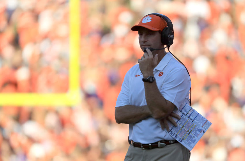CLEMSON, SOUTH CAROLINA - SEPTEMBER 07: Head coach Dabo Swinney of the Clemson Tigers watches on from the sidelines against the Texas A&M Aggies during their game at Memorial Stadium on September 07, 2019 in Clemson, South Carolina. (Photo by Streeter Lecka/Getty Images)