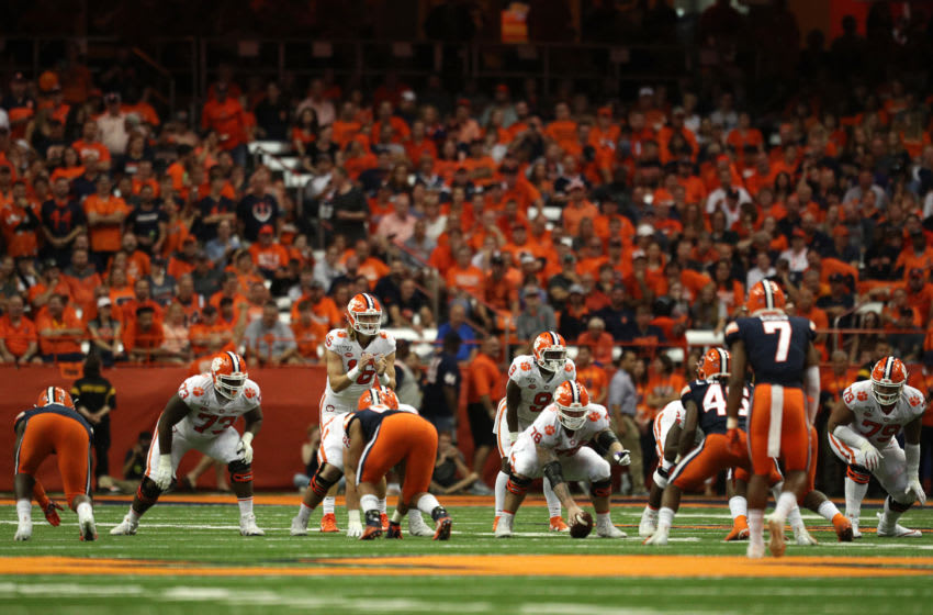 SYRACUSE, NEW YORK - SEPTEMBER 14: Trevor Lawrence #16 of the Clemson Tigers waits for the snap during a game against the Syracuse Orange at the Carrier Dome on September 14, 2019 in Syracuse, New York. (Photo by Bryan M. Bennett/Getty Images)