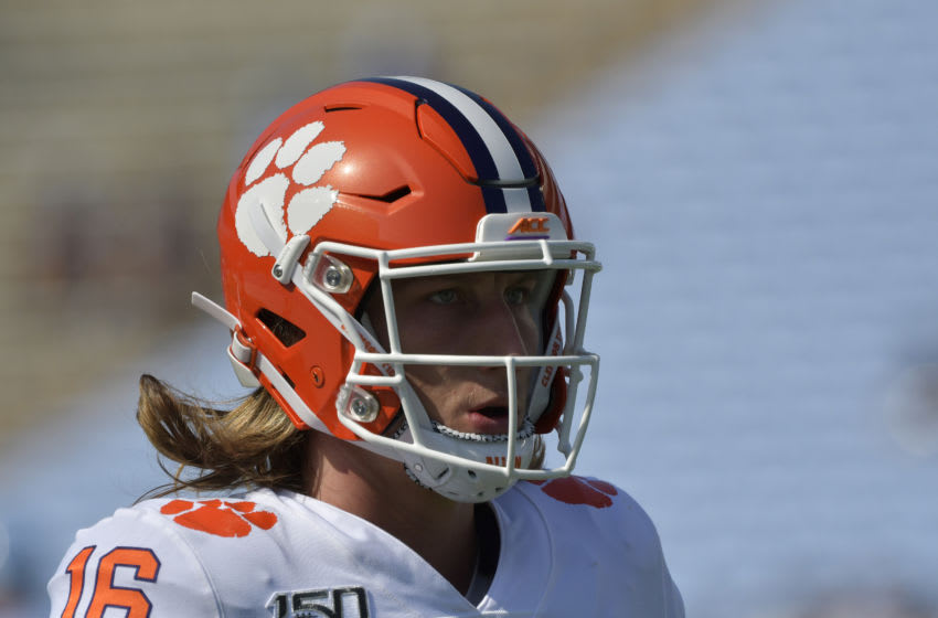 CHAPEL HILL, NORTH CAROLINA - SEPTEMBER 28: Trevor Lawrence #16 of the Clemson Tigers during their game against the North Carolina Tar Heels at Kenan Stadium on September 28, 2019 in Chapel Hill, North Carolina. Clemson won 21-20. (Photo by Grant Halverson/Getty Images)