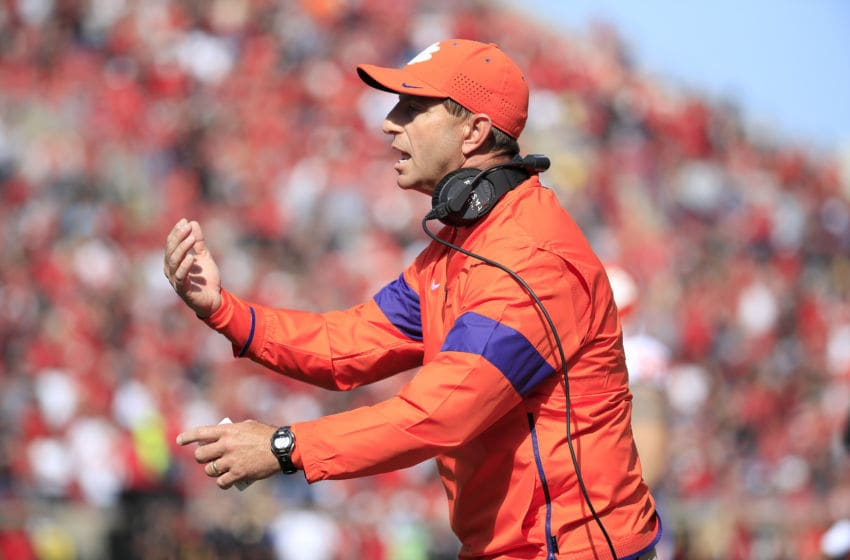 LOUISVILLE, KENTUCKY - OCTOBER 19: Dabo Swinney the head coach of the Clemson Tigers watches the action against the Louisville Cardinals at Cardinal Stadium on October 19, 2019 in Louisville, Kentucky. (Photo by Andy Lyons/Getty Images)