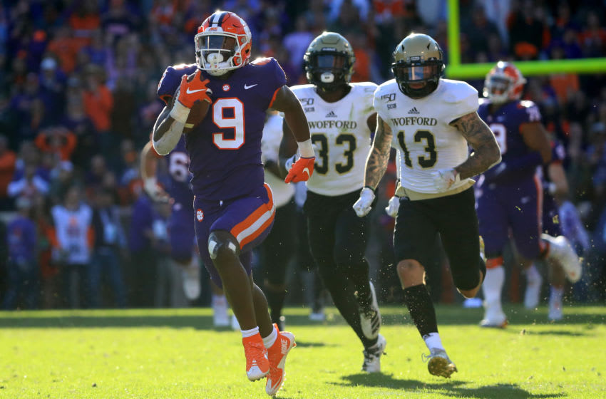 CLEMSON, SOUTH CAROLINA - NOVEMBER 02: Travis Etienne #9 of the Clemson Tigers runs for a touchdown as against the Wofford Terriers during their game at Memorial Stadium on November 02, 2019 in Clemson, South Carolina. (Photo by Streeter Lecka/Getty Images)