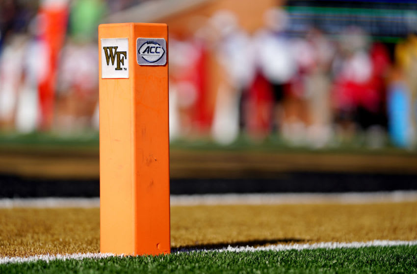 WINSTON SALEM, NORTH CAROLINA - NOVEMBER 02: A Wake Forest Demon Deacons and ACC logo pylon in the second half during the game between the Wake Forest Demon Deacons and the North Carolina State Wolfpack at BB&T Field on November 02, 2019 in Winston Salem, North Carolina. (Photo by Jacob Kupferman/Getty Images)