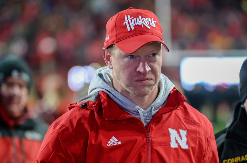 LINCOLN, NE - NOVEMBER 29: Head coach Scott Frost of the Nebraska Cornhuskers walks off the field after the loss against the Iowa Hawkeyes at Memorial Stadium on November 29, 2019 in Lincoln, Nebraska. (Photo by Steven Branscombe/Getty Images)