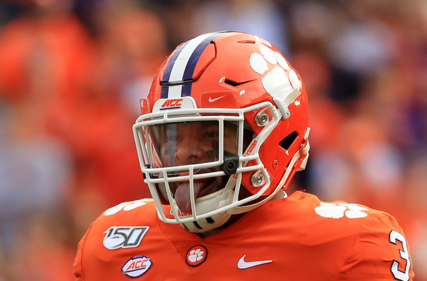 CLEMSON, SOUTH CAROLINA - NOVEMBER 16: Xavier Thomas #3 of the Clemson Tigers reacts after a play against the Wake Forest Demon Deacons during their game at Memorial Stadium on November 16, 2019 in Clemson, South Carolina. (Photo by Streeter Lecka/Getty Images)