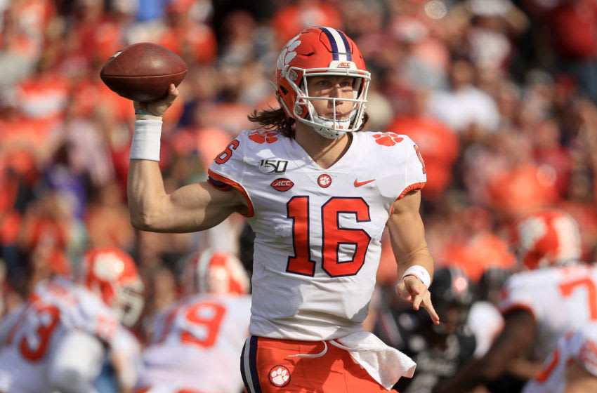 COLUMBIA, SOUTH CAROLINA - NOVEMBER 30: Trevor Lawrence #16 of the Clemson Tigers drops back to pass against the South Carolina Gamecocks during their game at Williams-Brice Stadium on November 30, 2019 in Columbia, South Carolina. (Photo by Streeter Lecka/Getty Images)