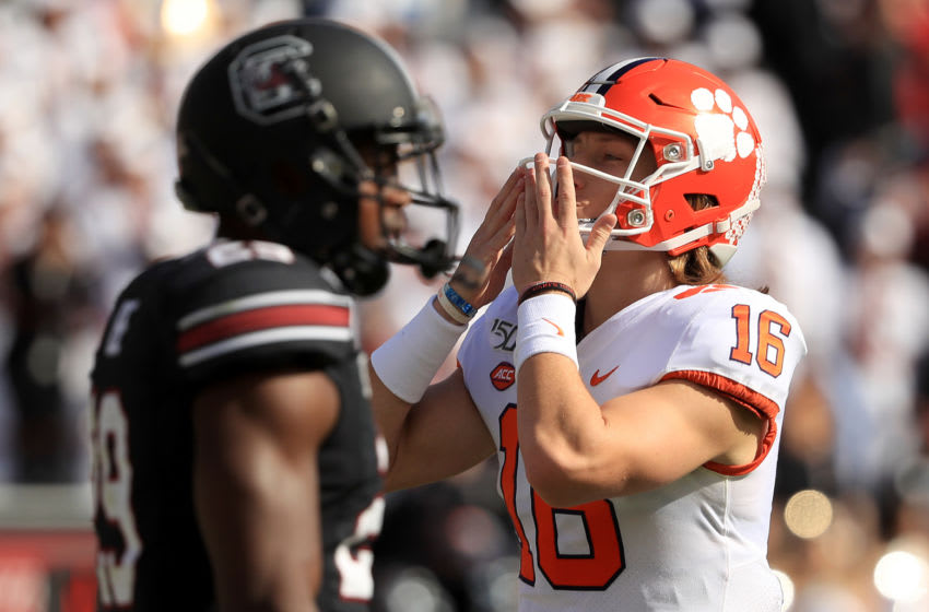 COLUMBIA, SOUTH CAROLINA - NOVEMBER 30: Trevor Lawrence #16 of the Clemson Tigers reacts after a touchdown against the South Carolina Gamecocks during their game at Williams-Brice Stadium on November 30, 2019 in Columbia, South Carolina. (Photo by Streeter Lecka/Getty Images)