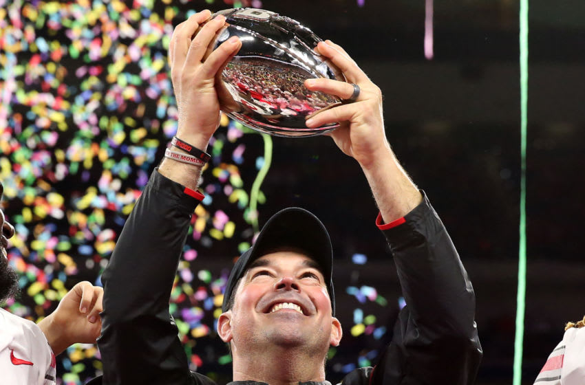 INDIANAPOLIS, INDIANA - DECEMBER 07: Head coach Ryan Day of the Ohio State Buckeyes holds up the Big Ten Championship trophy after a win over the Wisconsin Badgers at Lucas Oil Stadium on December 07, 2019 in Indianapolis, Indiana. (Photo by Justin Casterline/Getty Images)