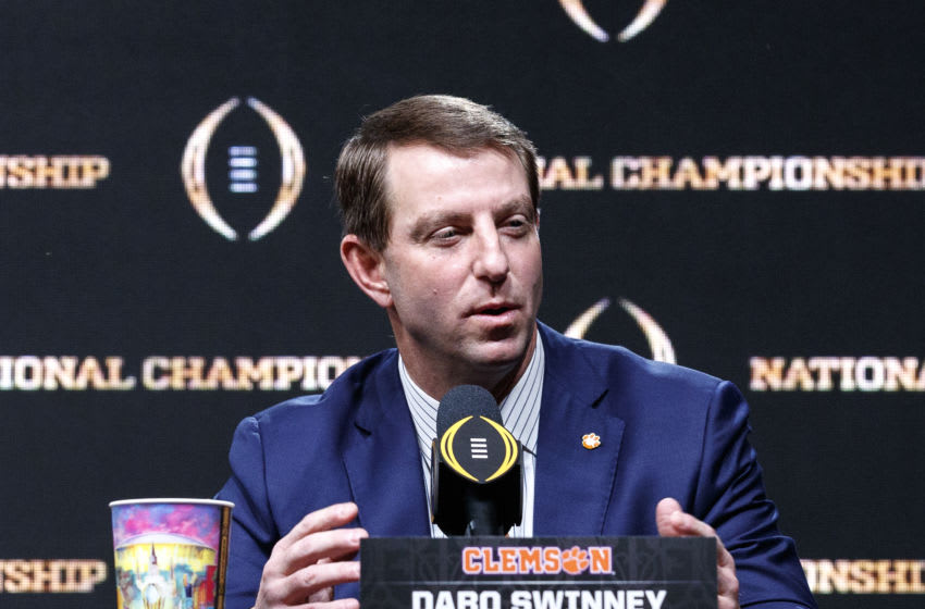 Head Coach Dabo Swinney of the Clemson Tigers addresses the media during the Head Coaches Press Conference before the College Football Playoff National Championship at the Grand Ballroom at the Sheraton Hotel on January 12, 2020 in New Orleans, Louisiana. (Photo by Don Juan Moore/Getty Images)