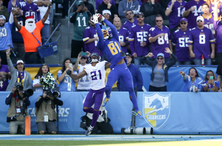 CARSON, CA - DECEMBER 15: Mike Williams #81 of the Los Angeles Chargers catches a touchdown pass during the game against the Minnesota Vikings at Dignity Health Sports Park on December 15, 2019 in Carson, California. The Vikings defeated the Chargers 39-10. (Photo by Rob Leiter via Getty Images)