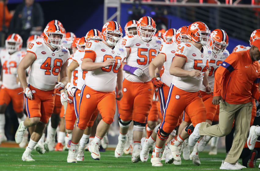 GLENDALE, ARIZONA - DECEMBER 28: The Clemson Tigers take the field prior to the College Football Playoff Semifinal against the Ohio State Buckeyes at the PlayStation Fiesta Bowl at State Farm Stadium on December 28, 2019 in Glendale, Arizona. (Photo by Christian Petersen/Getty Images)