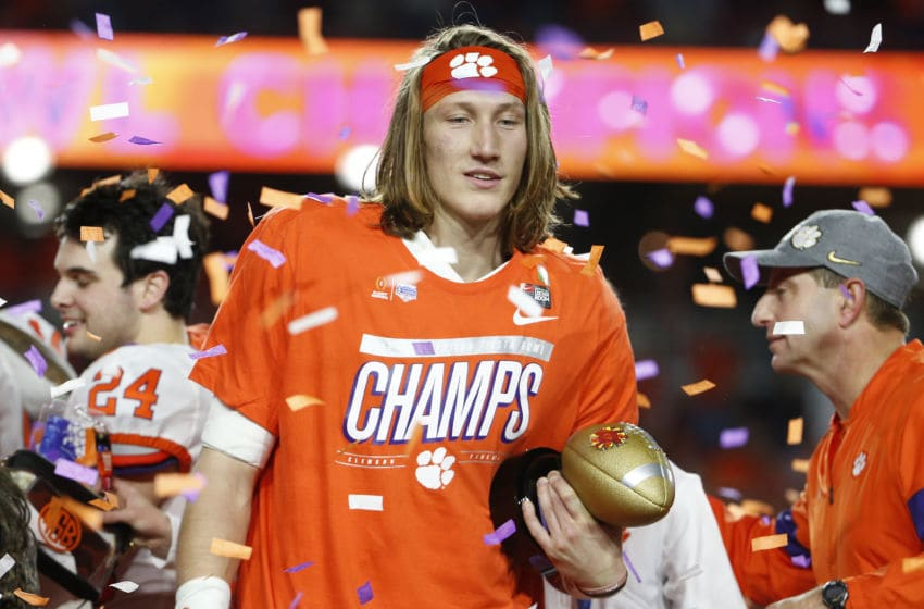GLENDALE, ARIZONA - DECEMBER 28: Trevor Lawrence #16 of the Clemson Tigers celebrates his teams 29-23 win over the Ohio State Buckeyes in the College Football Playoff Semifinal at the PlayStation Fiesta Bowl at State Farm Stadium on December 28, 2019 in Glendale, Arizona. (Photo by Ralph Freso/Getty Images)